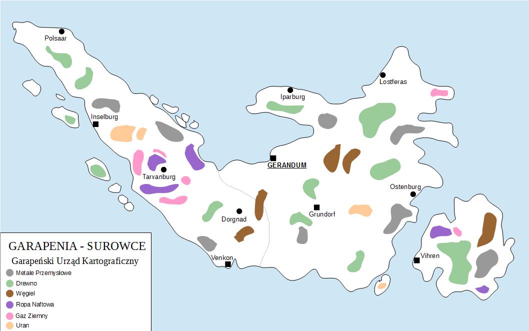 Mapa surowcowa Garpenii