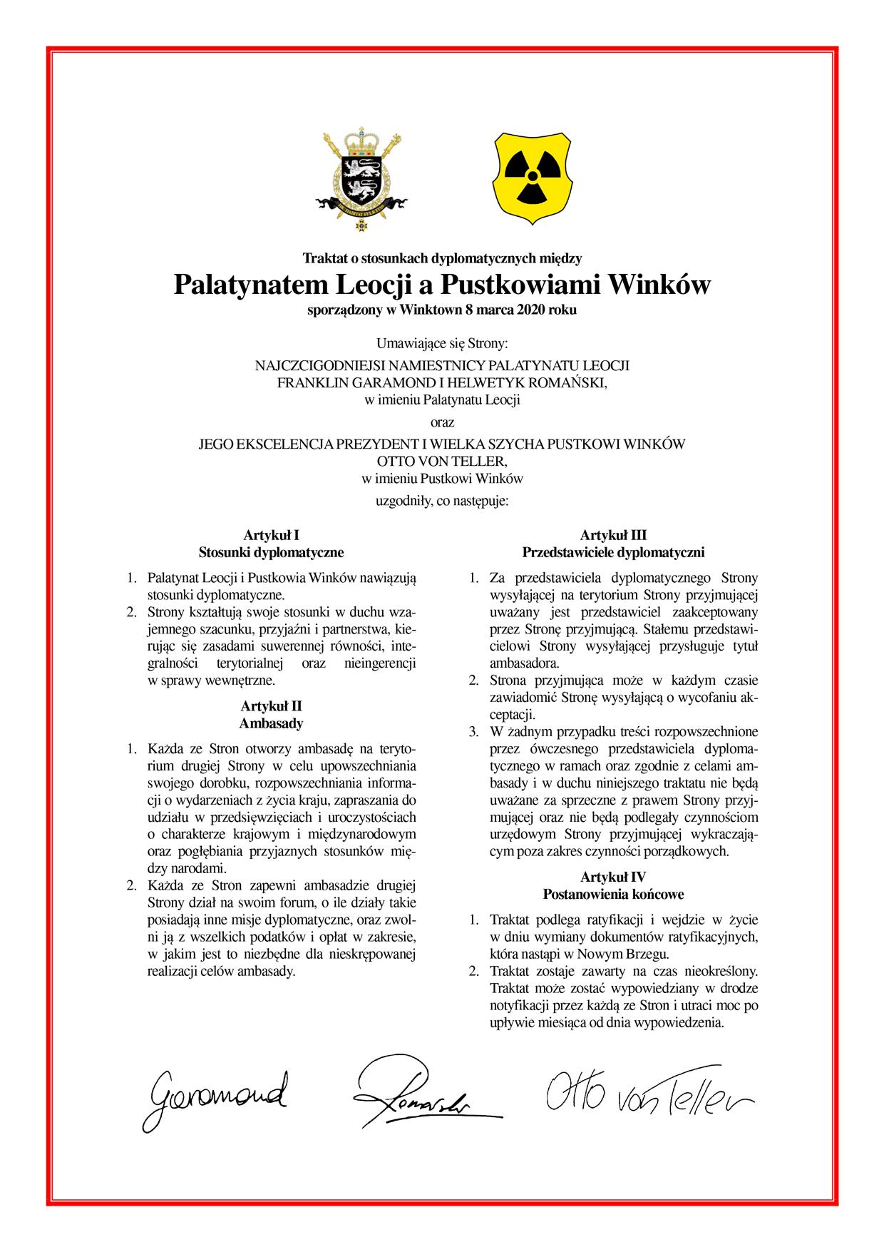 Traktat o stosunkach dyplomatycznych między Palatynatem Leocji a Pustkowiami Winków