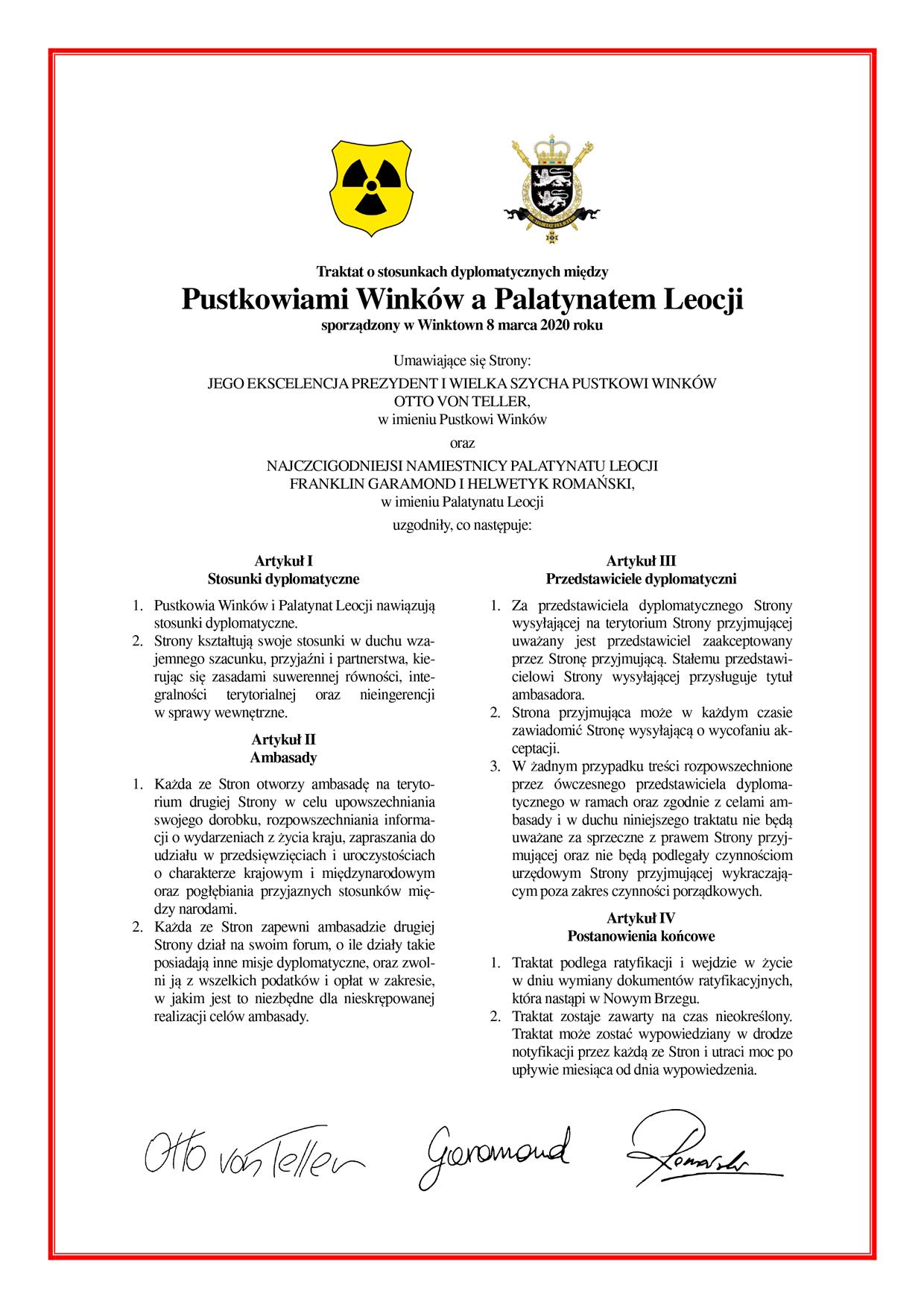 Traktat o stosunkach dyplomatycznych między Pustkowiami Winków a Palatynatem Leocji